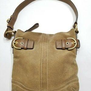 COACH Leather Suade Brown Nude Boho Shoulder Bag